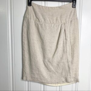 Peruvian Connection Tan Linen Skirt Size 4